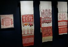 Display of Embroidered Towels with Floral Pattern, early 19th-late 20th century. Russia. Private Collection of Susan Johnson. Varied materials and techniques.