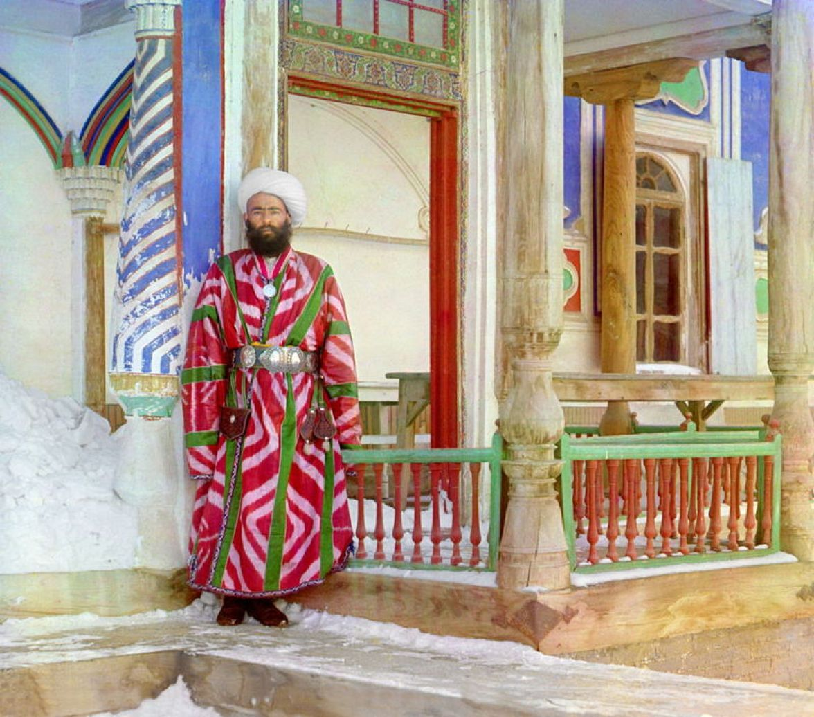 Prokudin-Gorskii, Sergei Mikhailovich. Bukhara Bureaucrat, 1906-1911. 1 negative (3 frames) : glass, b&w, three-color separation. Library of Congress, Prokudin-Gorskii Collection.