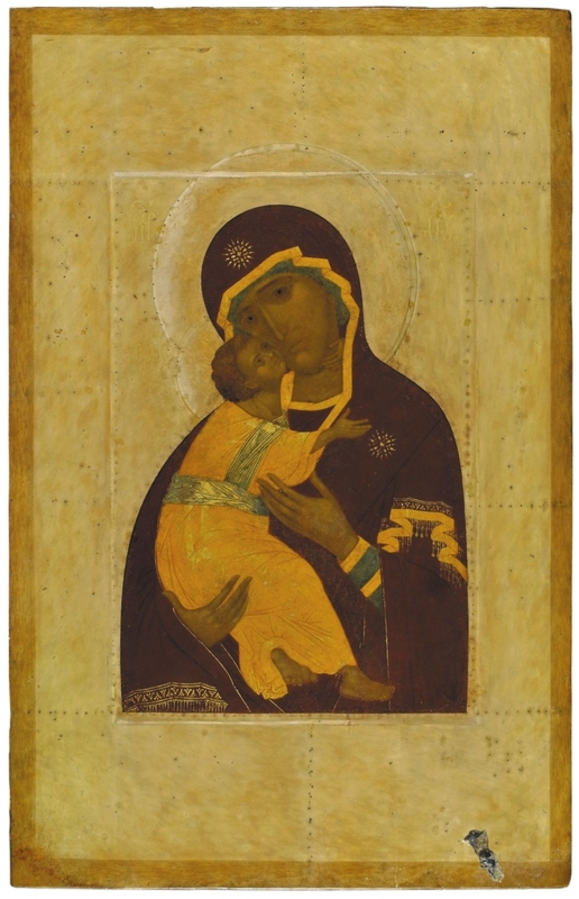 The Mother of God of Vladimir, 18th century. Tempera on wooden panel. 106 x 70 cm. Yaroslavl Art Museum, Yaroslavl, Russia.