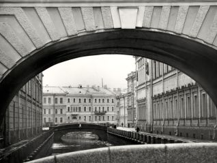 Winter Canal bridge and New Hermitage.