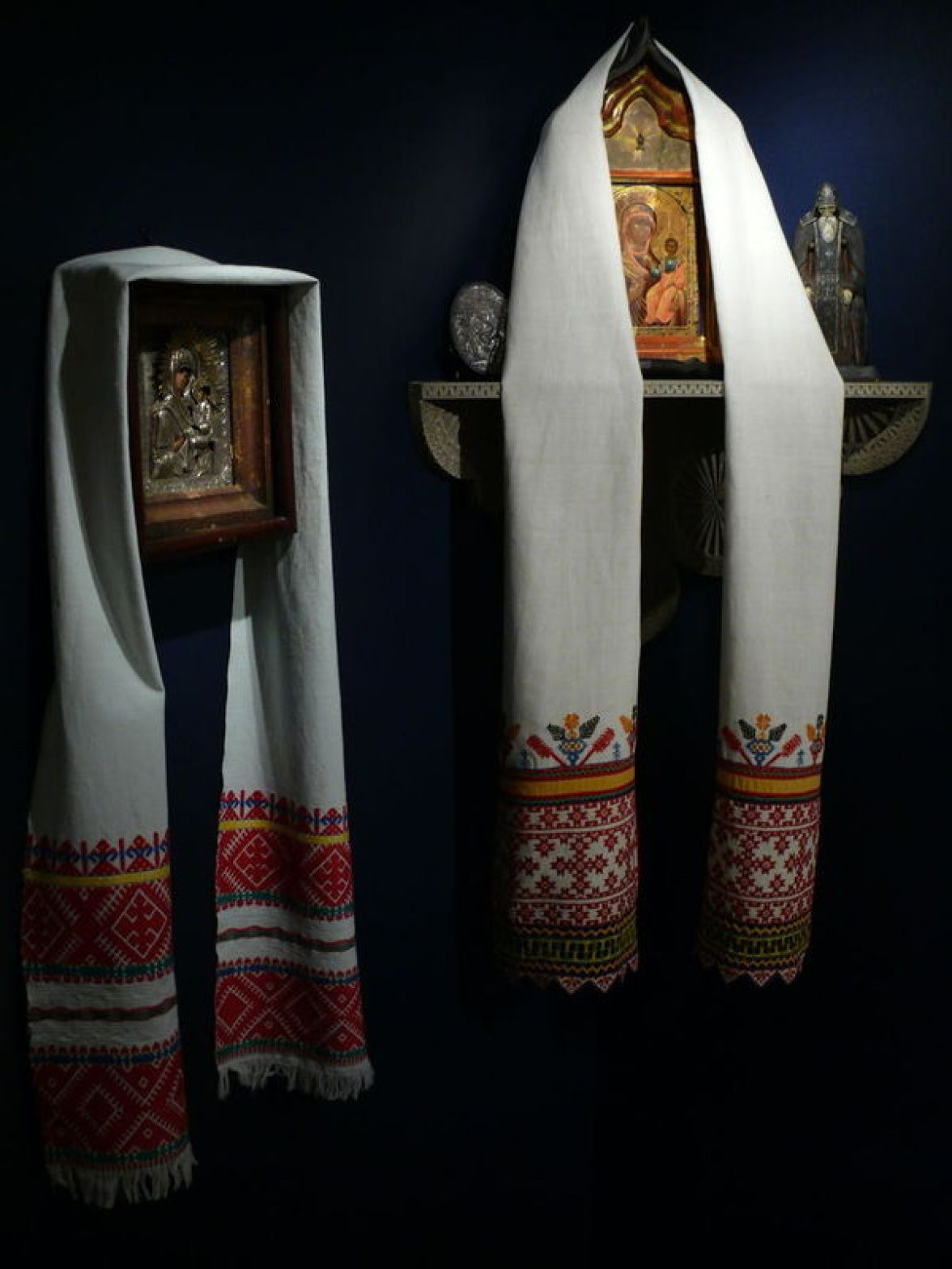 Red Corner, late 19th-early 20th century. Vologda region, Russia. Private Collection of Susan Johnson. Cloth, thread.