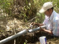 Bau der Wasserleitung
