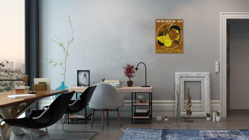 Peinture tmpx - Mohamed Ali - salon-grand-Mur-gris-Peu-meublé