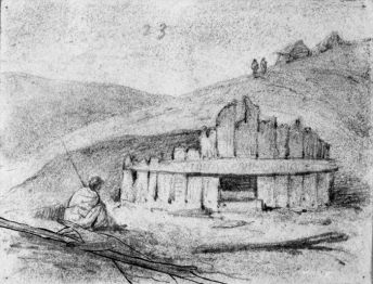 An early depiction of a possible kumara storage hut.