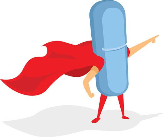 Pill or tablet drug super hero pointing with cape