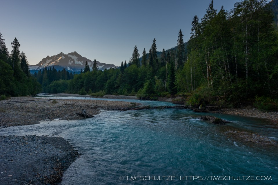Nooksack River, Shuksan, Black and White, by T.M. Schultze