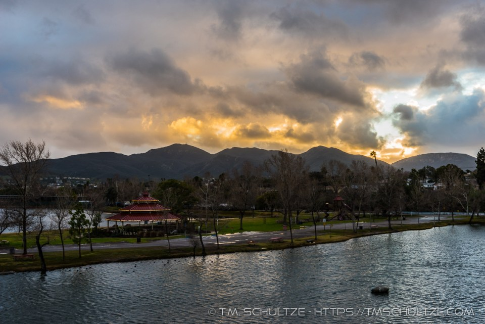 Sunset Storm Santee Lakes by T.M. Schultze