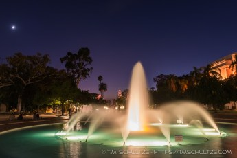 Scripps Fountain and Crescent Moon