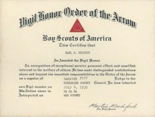 Carl Helmick Vigil Certificate