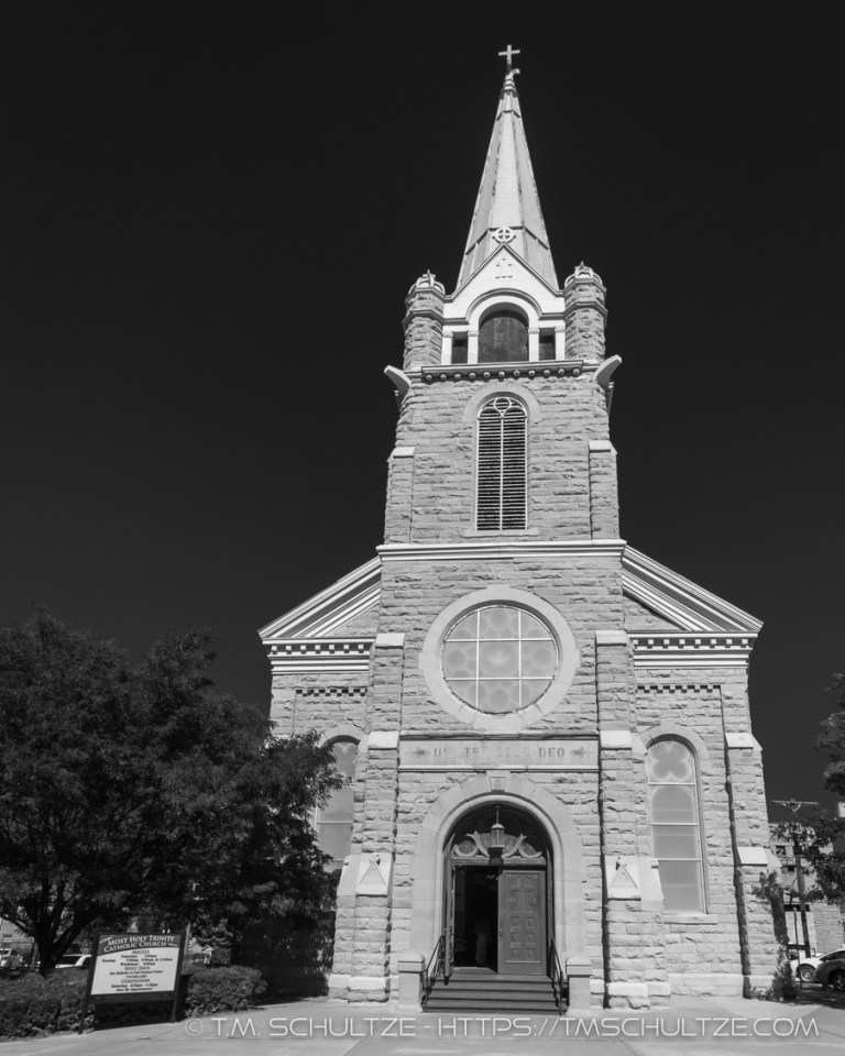 Trinidad Holy Trinity Catholic Church, Black and White, by T.M. Schultze