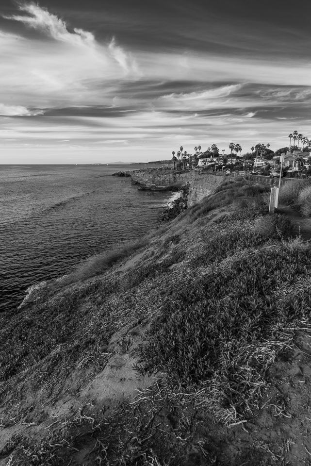 Sunset Cliffs View North, Black and White, by T.M. Schultze
