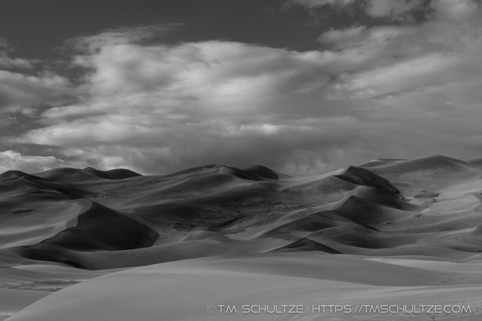 Great Sand Dunes Shadows, Black and White, by T.M. Schultze