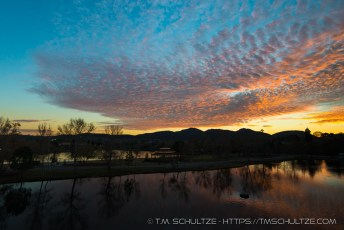 Lake One And Mission Trails At Sunset