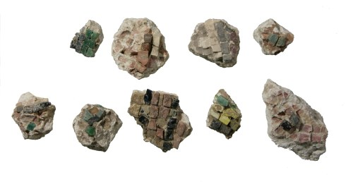 A few examples of the many sections of Mosaic floors which were found at the Temple Mount Sifting Site