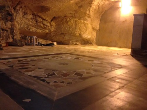 This opus sectile floor is one of two that are in the cave under the Dome of the Rock. Note that it again features an eight-pointed star at the center.