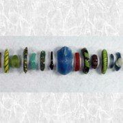 assorted beads in a row