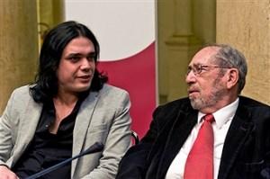 גבריאל ברקאי והפובליציסט הפלשתינאי וואלד אל-חוסיני בכנס של ברומא.