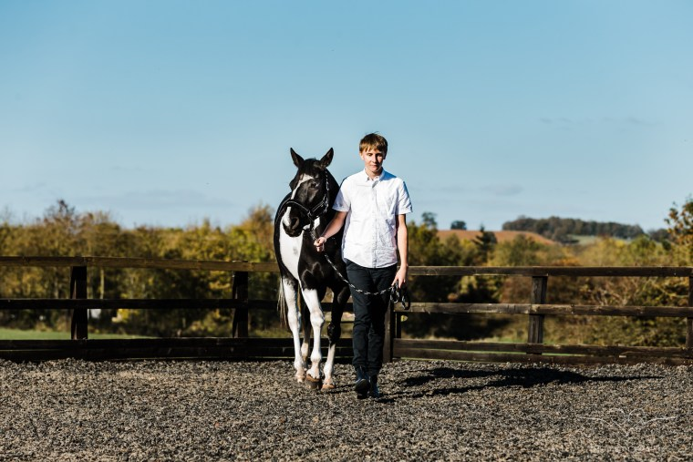 horse and rider in menage walking