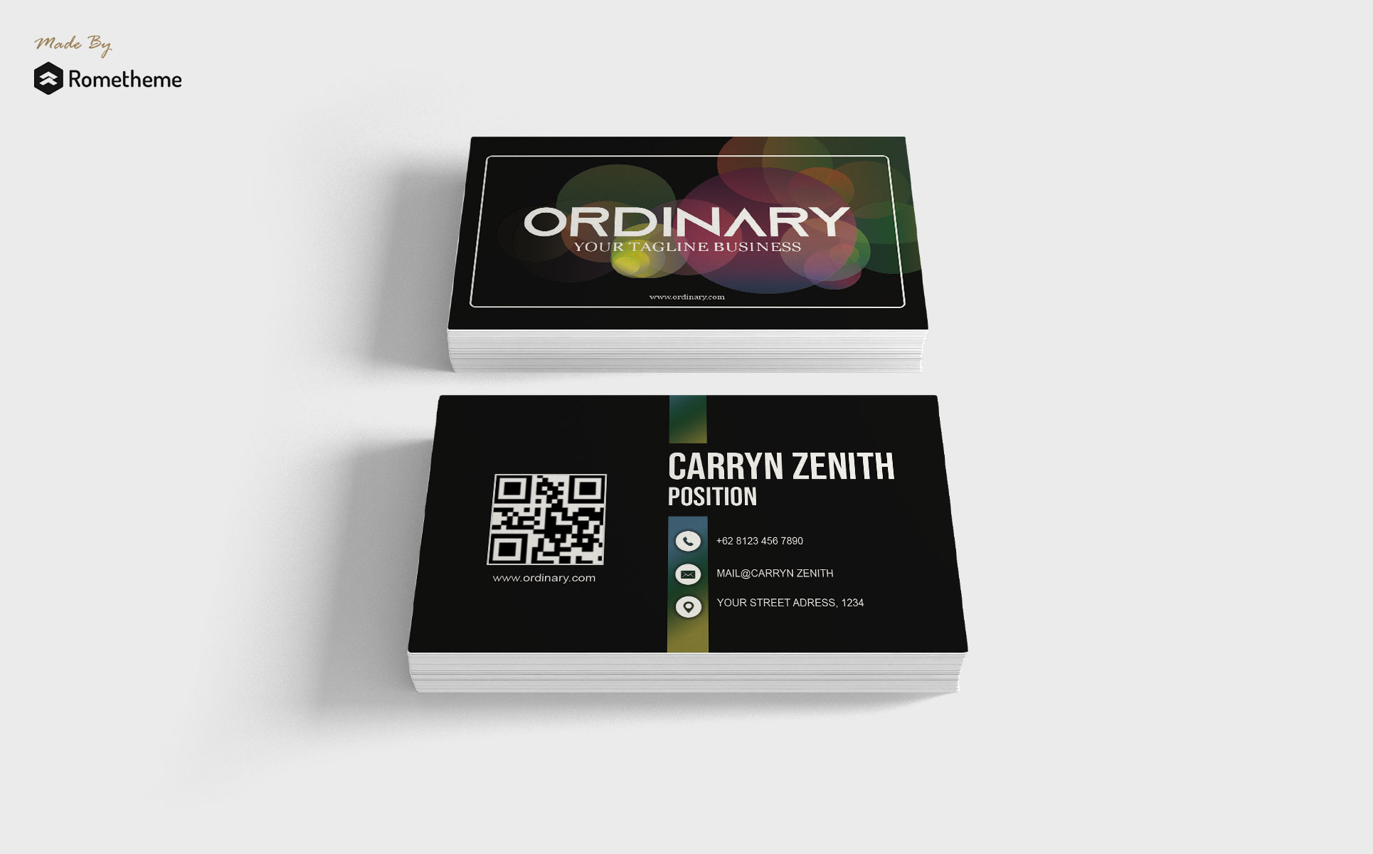 Overlapping Transparent Gradient Circles Business Card Design Template