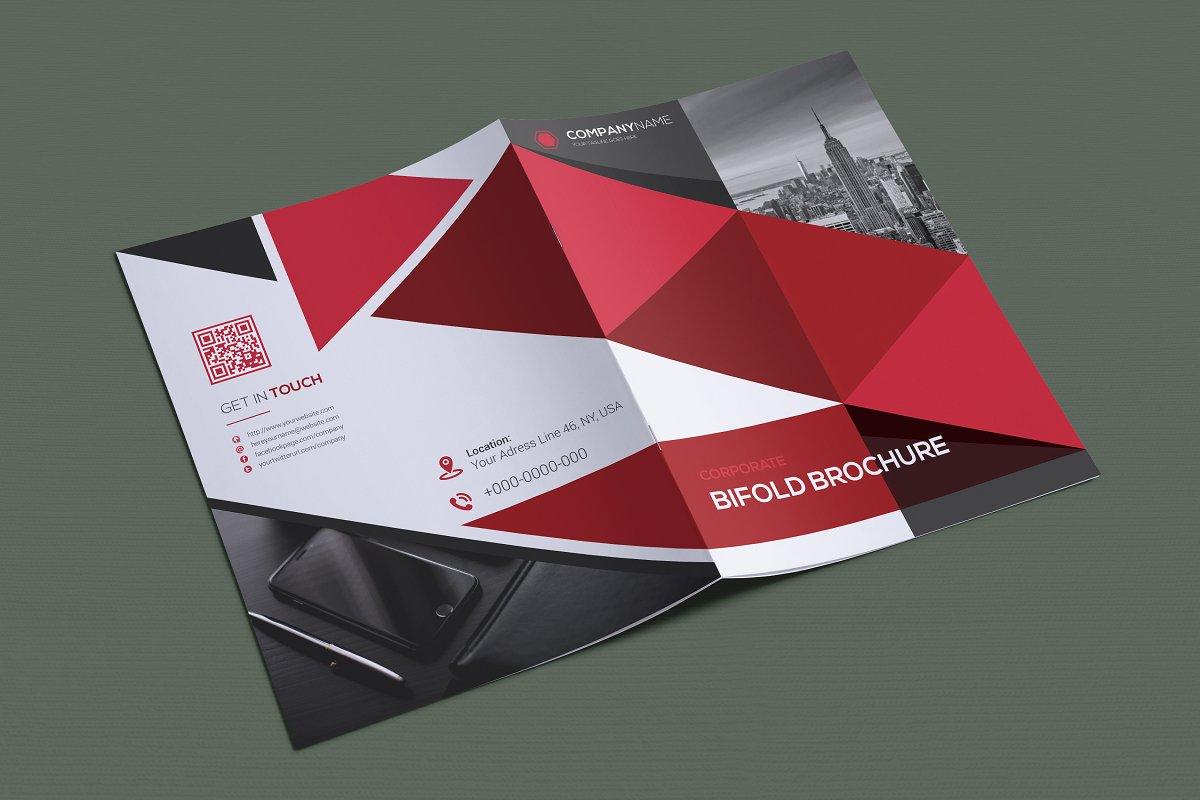 Geometric Red Black and Grey Bifold Brochure Design Template