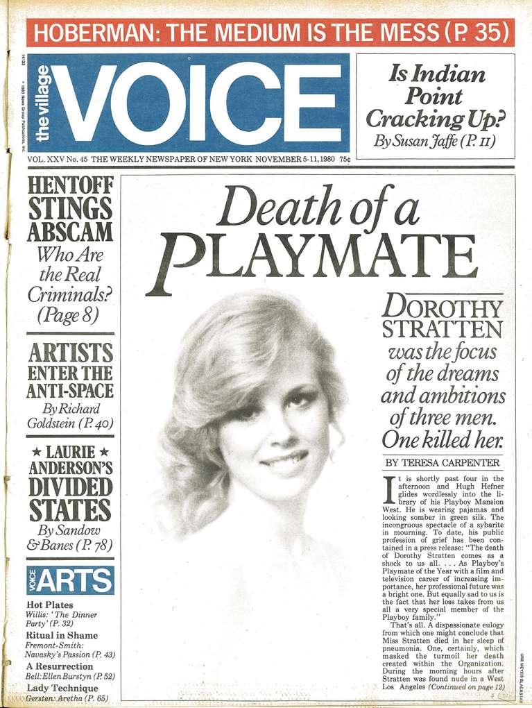 La portada de la nota de The Village Voice cuando mataron a Dorothy Stratten (Foto: archivo).