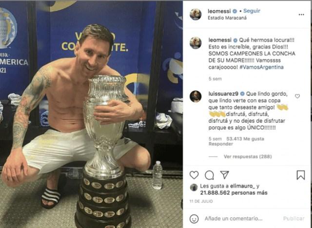 Messi y la Copa. Foto: @leomessi