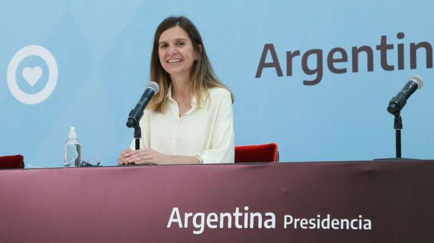 La titular de la Anses, Fernanda Raverta, en el acto donde presentó el plan de jubilación anticipada. (Foto: Anses).