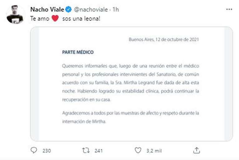 Nacho Viale celebró el alta de su abuela. (Foto: Captura)