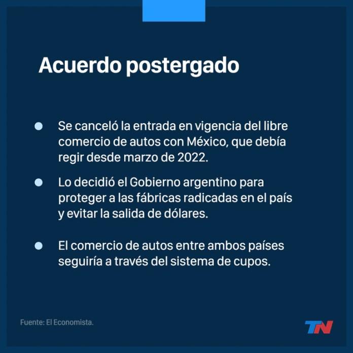 Argentina postergó otra vez el libre comercio de autos con México
