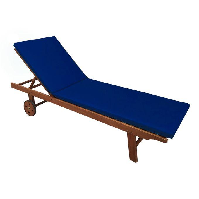 matelas chaise longue 180x55x5 cm bleu marine