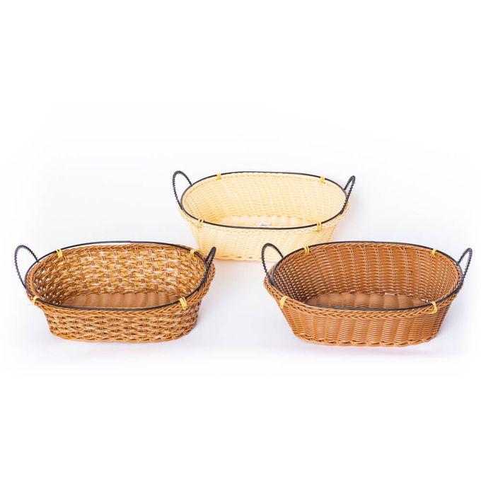 lot de 3 corbeilles a pain panier en rotin artificielle forme ovale