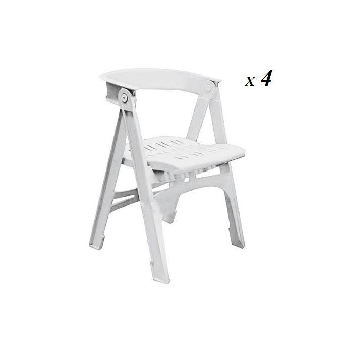lot de 4 chaises pliantes blanc