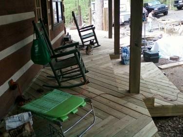 front porch deck herringbone decking pattern