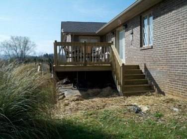 two of four sets of steps on the deck