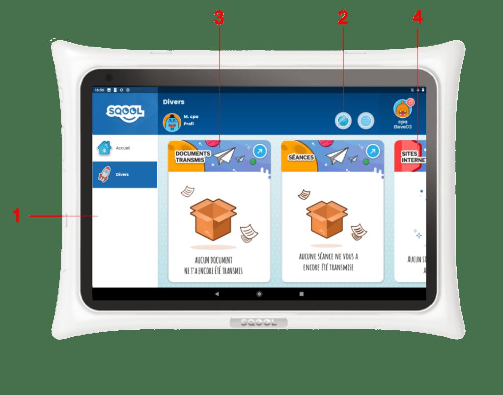 Écran matières de l'interface Primaire de la tablette SQOOL