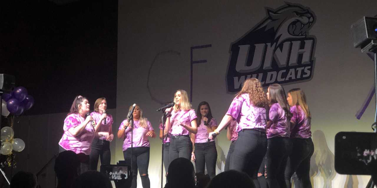 "UNH a capella groups sing to ""Fight cystic fibrosis like a wildcat"""