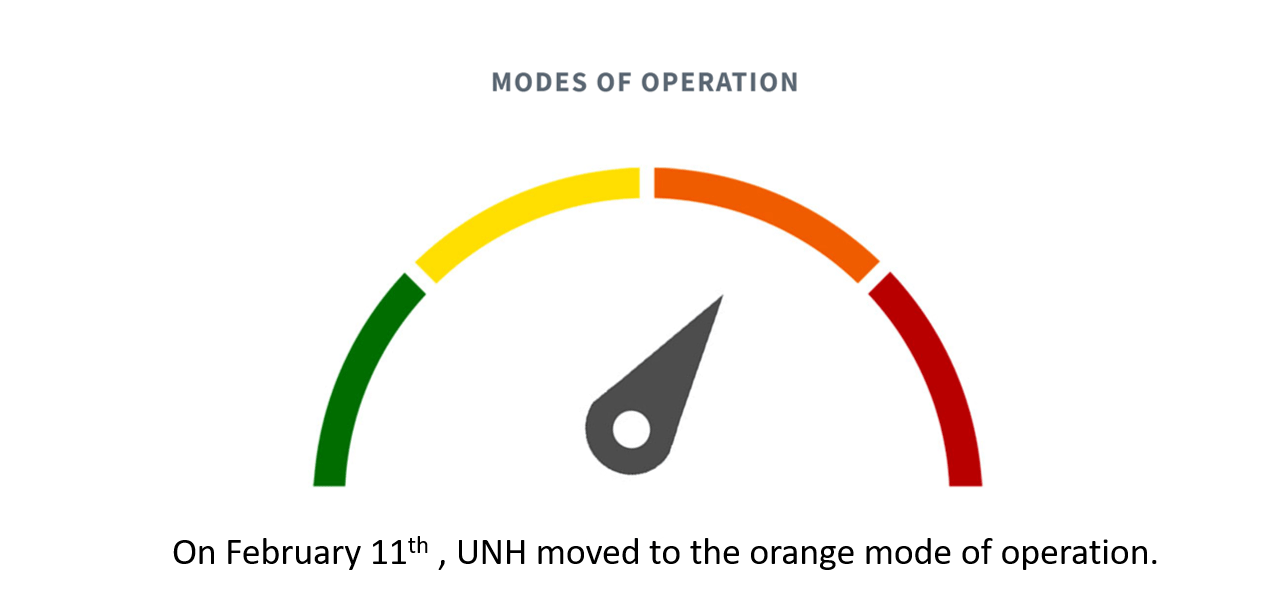 UNH switches to orange level of operations