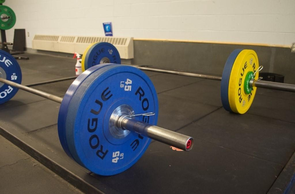 A picture containing sport, barbell, indoor, blue  Description automatically generated