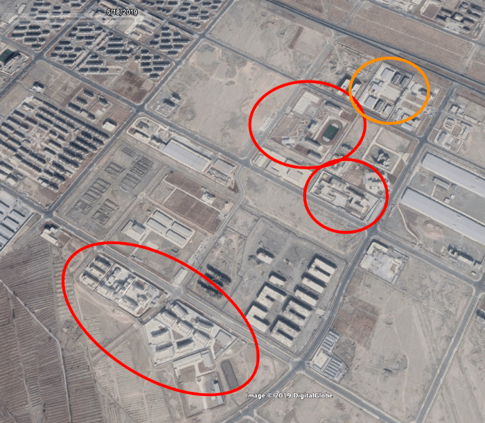 Re-education Camps No. 76, 77, and 78 in red and prison in yellow. (Google Earth image)