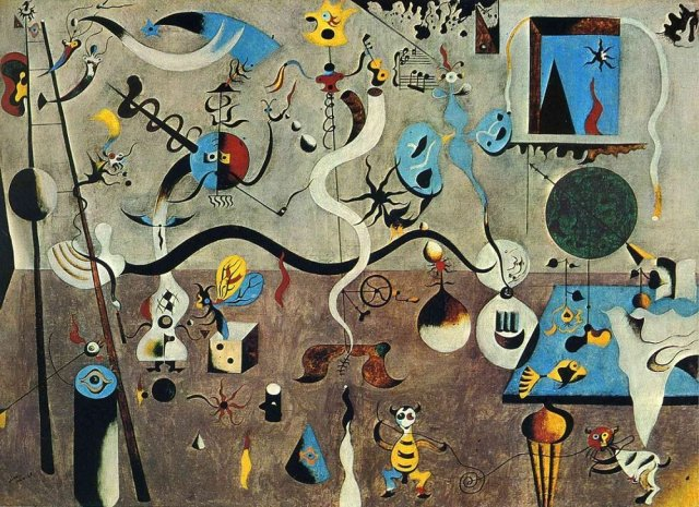 Surrealist painting by Joan Miró: A room full of freaky stuff reflecting the complexity of wordpress maintenance