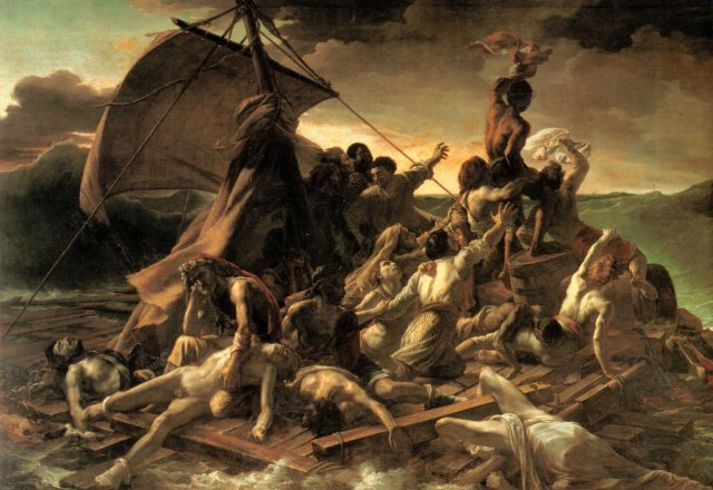 Painting of people shipwrecked and crowded onto a raft.