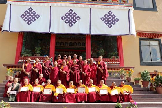 10 Geshema graduates in 2018 in front of Kopan Nunnery, Nepal