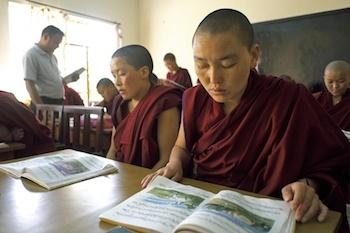 Buddhist nun studying at Tibetan nunnery