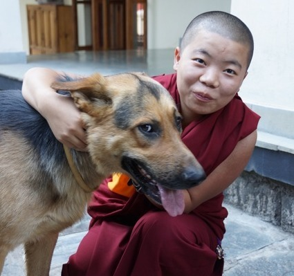 Tibetan Buddhist nun and dog