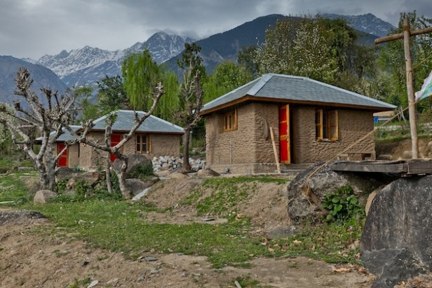 outside some of the 8 Buddhist retreat huts for Tibetan nuns at Dolma Ling Nunnery