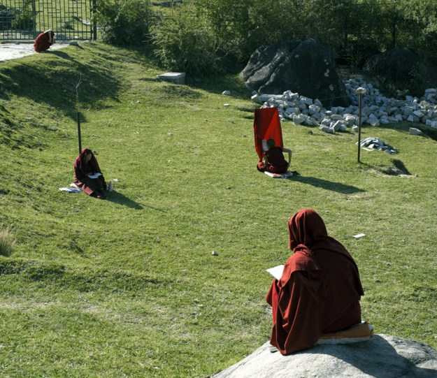 three Tibetan nuns sit outdoors and study their texts