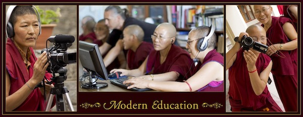 3 photos of the nuns using media and computers
