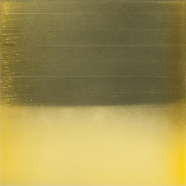 Miya Ando, Prayer Flag Yellow, 2013. 12x12 inches, dye, phosphorescence pigment and resin on aluminum plate.