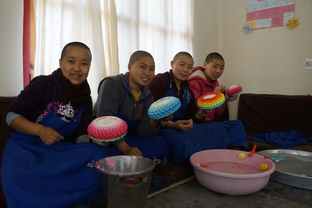 Buddhist nuns making butter sculptures