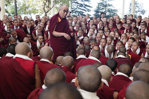 His Holiness the Dalai Lama speaks to Tibetan Buddhist nuns after the Jang Gonchoe debate event of 2013